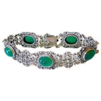 Antique Cabochon Chrysoprase Coin Silver fine Filigree Bracelet