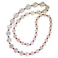 Art Deco Rock Quartz Crystal Cranberry Glass Graduated Bead Necklace