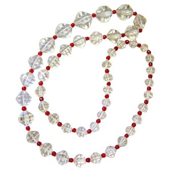Art Deco Rock Quartz Crystal Cranberry Glass Graduated Bead Necklace
