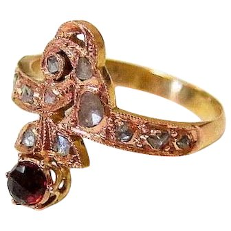 Antique Rose Cut Diamonds Garnet 14K Rose Gold Ring
