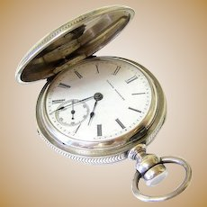 Antique Illinois Watch Company Full Hunter Coin Silver Pocket Watch Working