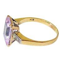 Art Deco Pink Lavender Paste Diamond 10K Yellow Gold Ring Esemco