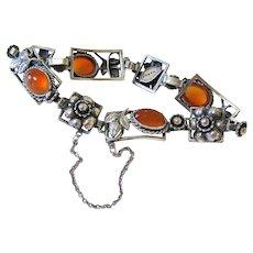 Arts and Crafts Carnelian Agate Sterling Silver Bracelet Fratelli Peruzzi