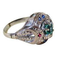 Art Deco 14k White Gold Emerald Ruby Blue Spinel Ring