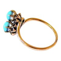 Antique Sky Blue Turquoise 10K Rose gold Ring