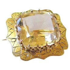 Edwardian 14k Yellow Gold Cushion Cut Citrine Etched Brooch Pin