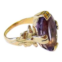 Art Nouveau 14k Yellow Gold Oval Amethyst Ring