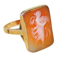 Edwardian Shell Cameo 14k Rosy Gold Ring