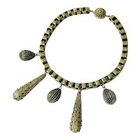 Antique Victorian Book Link Vermeil over Brass Pendant Charm Choker Necklace