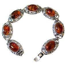 Sterling Silver Baltic Amber Bracelet Signed Hallmarked