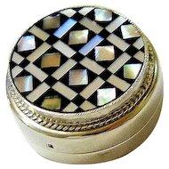 Middle Eastern Coin Silver Mosaic Pill Trinket Keepsake Box