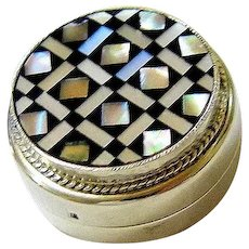 Middle Eastern Coin Silver Mosaic Pill Trinket Keepsake Box