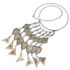 Turquoise Sterling Silver Ethnic Tribal Necklace