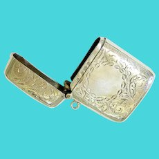 Victorian Sterling Silver Finely Etched Vesta Case Match safe 1900