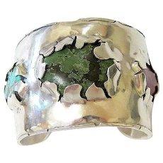 Modernist Sterling Stone Cuff Bracelet by Francisco Gomez