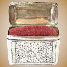 Rare Antique European Etched Coin Silver Etui Pin Cushion Sewing Box