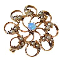 Late Victorian 10K Rosy Gold Fiery Opal Seed Pearl Wreath Chatelaine Brooch