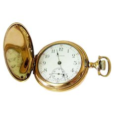 Antique Waltham 14KT Rolled Gold Hunter Pocket Watch Working Order