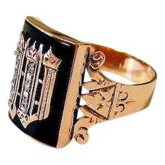 Antique Victorian 14K Rose Gold Onyx Rose cut Diamond Signet Ring