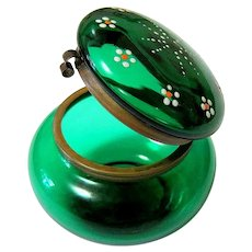 Antique Emerald Glass Enamel and Brass Dresser Jar