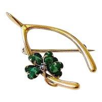 Victorian Enamel Seed Pearl 10K Rosy Gold Clover Wishbone Brooch Pin