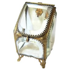 Antique Beveled Glass Brass Jewelry Pocket Watch Display Case