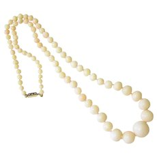 Angel Skin Coral 14k Yellow Gold Seed Pearl knotted Necklace