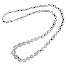 Beehive Quartz Crystal and Black Glass Bead Necklace 14K gold Clasp