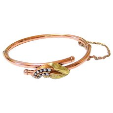 Victorian 14K Rose Gold 18K Yellow Gold Seed Pearl Bangle Bracelet