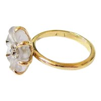 Art Deco Frosted Carved Rock Quartz Diamond 14k Yellow White Gold Ring