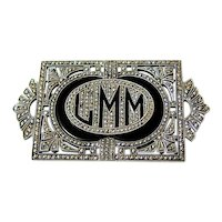 Art Deco Sterling Silver Pierced Marcasite Initial Monogram Brooch Pin