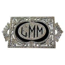 Art Deco Sterling Silver Pierced Marcasite Initial Monogram Brooch Pin