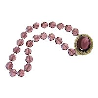 Czech Amethyst Glass and Brass Necklace Knotted