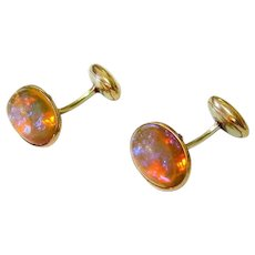 Antique 10k Rolled Gold Bohemian Dragons Breath Glass Bean Back Cufflinks