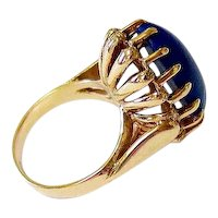 Cabochon Oval Lapis Lazuli 14K Rosy Gold Ring