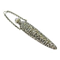 Antique Sterling Silver Etched Repoussé Chatelaine Perfume Vial Bottle Fob