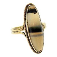 Edwardian 10k Yellow Gold Oval Cabochon Banded Agate Ring