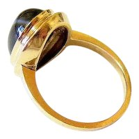 Edwardian Cabochon Banded Agate 10K Yellow Gold Ring