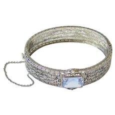 Rare Art Deco Ostby Barton Sterling Etched Filigree Color Change Paste Bracelet