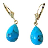 Natural Teardrop Turquoise 14K Yellow Gold Lever Back Drop Earrings