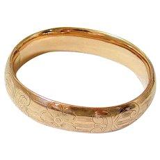 Antique 10k Rolled Rose Gold Etched Bangle Bracelet Signed