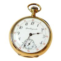 Rare Antique Spaulding and Company 14K Gold Pocket Watch Working Condition