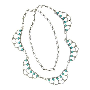 Southwest Sterling and Turquoise Scalloped Necklace