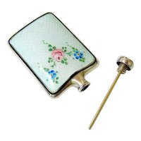 Antique Guilloche Enamel Sterling Silver Perfume Flask with Dauber