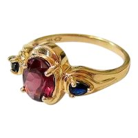 Amethyst Blue Topaz 14k Yellow Gold Ring