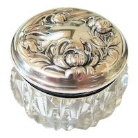 Art Nouveau Zipper Cut Crystal Sterling Silver Repousse Powder Dresser Jar