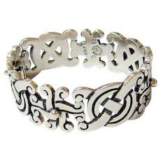 Fabulous Sterling Silver Ethnic Tribal Bracelet Signed Hallmarked