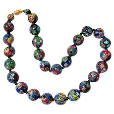 Millefiori Venetian Murano Round Glass Bead Necklace