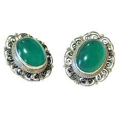 Antique Cabochon Chrysoprase Coin Silver fine Filigree French Clip Earrings