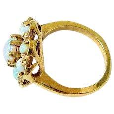 Edwardian Fiery Opal 14K Yellow Gold Halo Ring